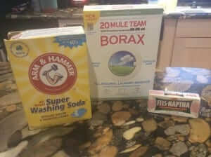 washing soda + borax + fels naptha