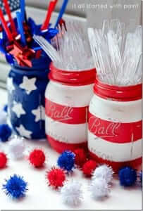"Flag Mason Jars from ""It All Started With Paint"""